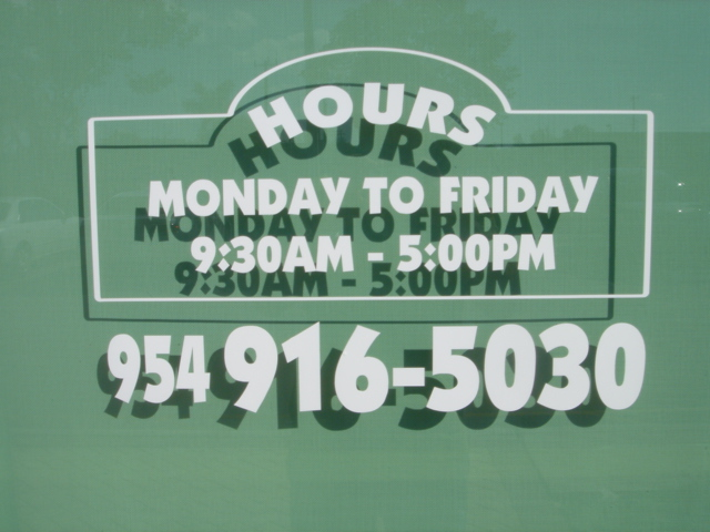 Business Hours White Lettering